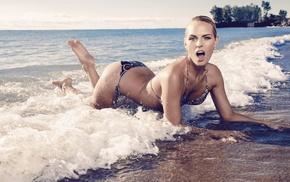 sand, beach, blonde, sea, girl, open mouth