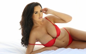 looking away, white background, girl, red lingerie, Abigail Ratchford, natural boobs