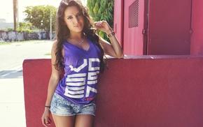 girl, T, shirt, portrait, jean shorts