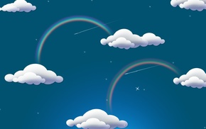 rainbows, sky, colorful, clouds, digital art, blue background