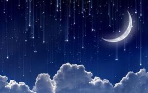 moon, falling, digital art, clouds, blue background, glowing