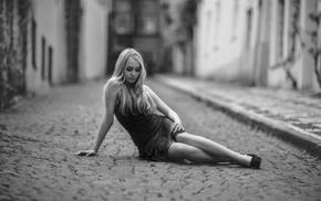 girl outdoors, girl, blonde, building, urban, monochrome