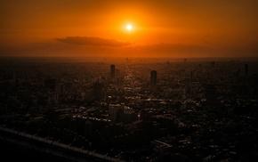 city, cityscape, orange, sunset