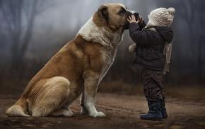 Friends, dog, baby