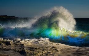 beach, rainbows, waves, water