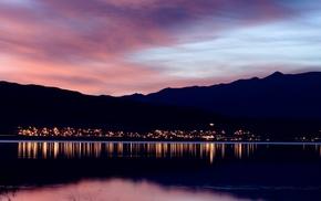 lake, sunset, evening, city, water, calm