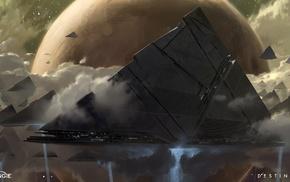 triangle, space, spaceship, Destiny, planet, futuristic