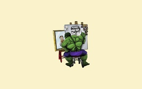 The Incredible Hulk, Bruce Banner, triple self portrait, Hulk