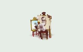 Hot Fuzz, Shaun of the Dead, Simon Pegg, triple self portrait