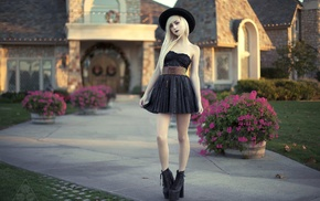 shoes, girl, portrait, hat, skinny, blonde