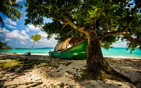 trees, landscape, clouds, tropical, boat, sand