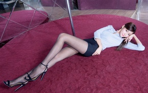 high heels, brunette, skirt, Asian