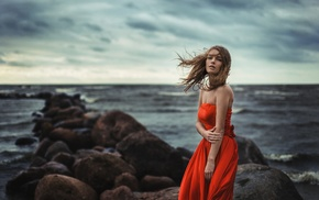 Evgeniy Reshetov, sea, coast, bare shoulders, red dress, girl