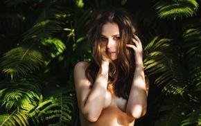 nature, sideboob, girl, brunette, strategic covering, no bra