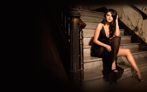 black dress, dress, Selena Gomez, legs, cleavage, girl