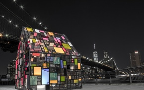 glass, artwork, colorful, New York City, night, architecture