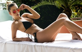 Anita Hodzic, black bikinis, model, bikini, long hair, palm trees