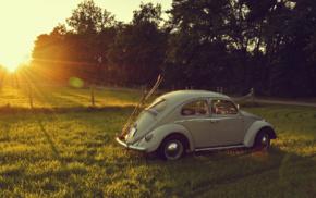 skis, oldtimers, car, Volkswagen, vintage, Volkswagen Beetle