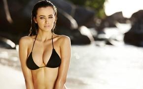 model, bikini, wet body, Sarah Stephens, cleavage, beach