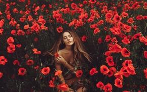 flowers, model, girl outdoors