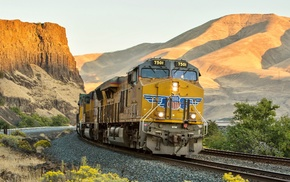 train, diesel locomotives, hill, railway, shadow, desert