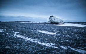 landscape, overcast, aircraft, snow, wreck, abandoned