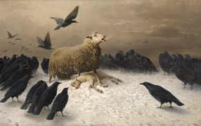 crow, classic art, sheep, Albrecht Schenck, birds, painting