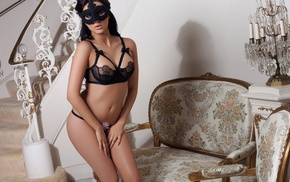 black thong, mask, Rachel Lynn Owen, black bras