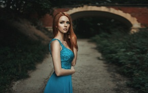 bridge, girl, blue dress, girl outdoors, path, depth of field