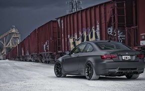 graffiti, BMW M3, train, BMW, BMW Active, car