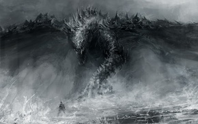 monochrome, digital art, artwork, dragon, fantasy art, creature