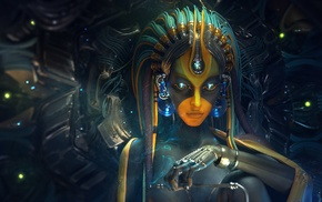 hand, digital art, futuristic, artwork, glowing, cyborg