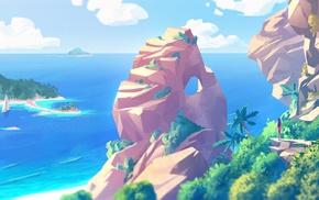 artwork, sea, digital art, palm trees, beach