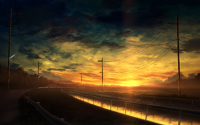 clouds, sky, road, fence, power lines, digital art