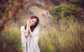 depth of field, long hair, nature, girl, girl outdoors, brunette
