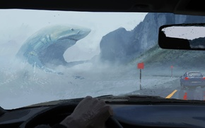 artwork, fantasy art, digital art, sea, car, megalodon
