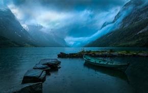 clouds, water, landscape, rain, mountain, nature