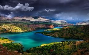 nature, shrubs, river, mountain, Turkey, landscape