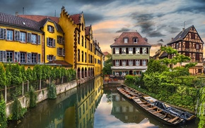building, reflection, France, old building, water, Colmar