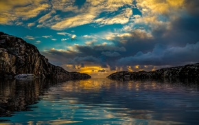 rock, nature, coast, sunlight, water, blue