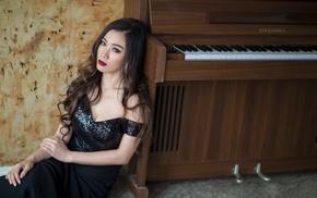 piano, Asian, girl, dress, black dress