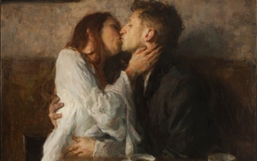 kissing, couple, tea, classic art, painting
