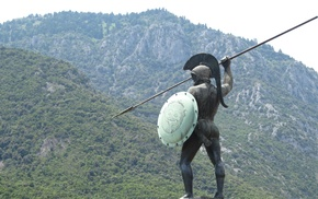 statue, Spartans, warrior, Thermopylae