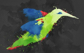 colibri bird, birds, painting