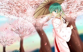 anime girls, Sakura Miku, Hatsune Miku, anime, Japanese umbrella, Vocaloid