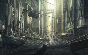 artwork, abandoned, Fallout, apocalyptic, street