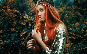 green, leaves, redhead, face, long hair, girl
