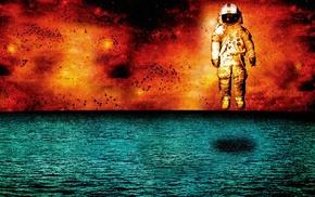 spacesuit, helmet, flying, fire, digital art, water