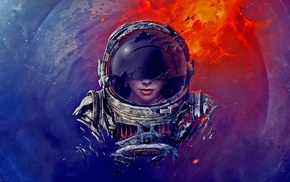 rock, digital art, planet, helmet, spacesuit, melting