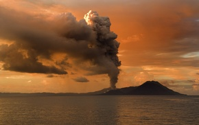 silhouette, hill, eruption, volcano, horizon, landscape